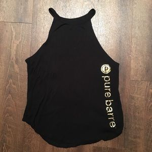 Pure Barre | High Neck Black Tank w/Gold Size S